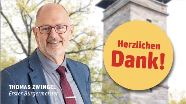 Thomas Zwingel - Erster Bürgermeister von Zirndorf bedankt sich für seine Wiederwahl.